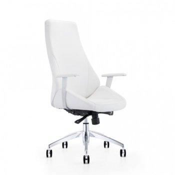 Директорски стол Elma, тапициран с еко кожа, възможност за регулиране на люлеещия ефект и наклона на облегалката, бял image