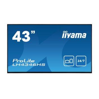 "Дисплей Iiyama LH4346HS-B1, 42.5"" (107.9 cm), Full HD, HDMI, DisplayPort, VGA, DVI, USB, RS232 image"