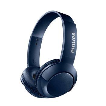 Слушалки Philips SHB3075BL, микрофон, Bluetooth, честотен диапазон 9 – 21 000 Hz, сини image