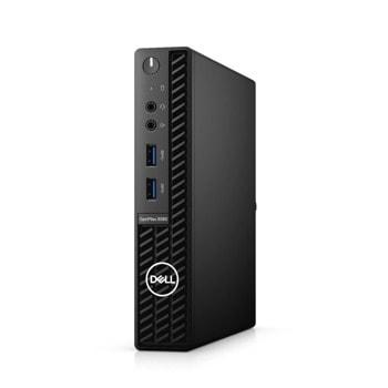Настолен компютър Dell OptiPlex 3080 MFF (N221O3080MFFAC_UBU-14), шестядрен Comet Lake Intel Core i5-10500T 2.3/3.8 GHz, 8GB DDR4, 256GB SSD, 4x USB 3.2 Gen 1, Linux image