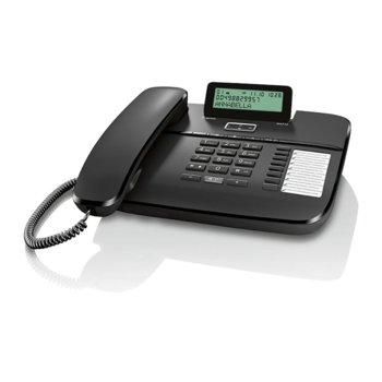 Стационарен телефон Gigaset DA710, LCD черно-бял дисплей, черен image