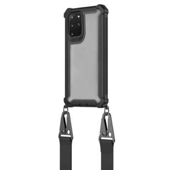 Калъф за Samsung Galaxy S20 Plus, хибриден, 4Smarts Sling Downtown 4S467523, с лента за врата, черен-прозрачен image