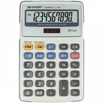 "Калкулатор SHARP EL-M335BPK, 10 разряден дисплей, ""Tax"" функция, бутон ""корекция"", бял image"