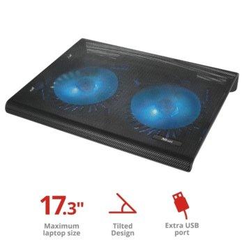 """Охлаждаща поставка за лаптоп Trust Azul Cooling Stand, за лаптопи до 17.3"""" (43.94cm), 2 вентилатора, USB, черна image"""