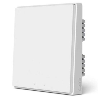 Смарт превключвател Xiaomi Aqara Smart Wall Switch D1 (QBKG21LM), за стена, включване/изключване на осветление, Wi-Fi, безжична връзка ZigBee, бял image