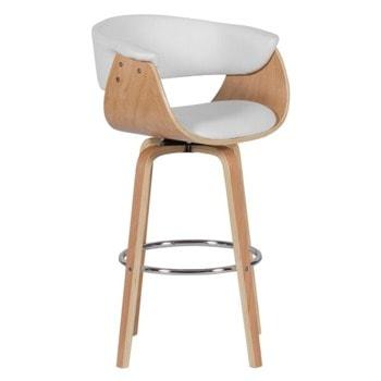 Бар стол Carmen 4040, до 100кг, еко кожа, дървена база, бял image