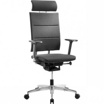 Диркеторски стол Sail chrome, еко кожа, Glide-Tec механизъм, полиуретанови падове, хромирана петлъчева основа, черен image