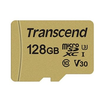 Карта памет 128GB microSD, с SD адаптер, Transcend 500S, Class 10 UHS-I U3, скорост на четене 95MB/s, скорост на запис 60MB/s image