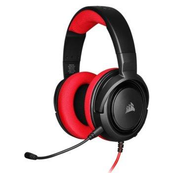 Слушалки Corsair HS35 Red, микрофон, геймърски, 3.5 mm jack, черни/червени image