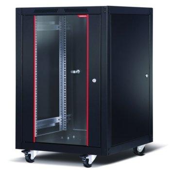 "Комуникационен шкаф Formrack SLV-16U6080, 19"", 16U, 600 x 800 x 942, свободностоящ, товароносимост 600кг, 4 отвора за вентилатори, черен image"