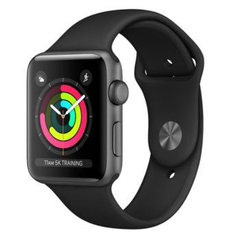 Смарт часовник Apple Watch Series 3 GPS 38mm, 312 x 390 pix OLED Retina дисплей, 8GB памет, Wi-Fi, Bluetooth, Watch OS 4, водоустойчив, черен с черна каишка image