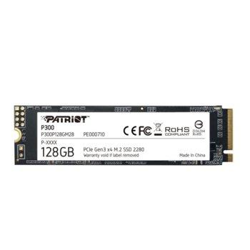 Памет SSD 128GB, Patriot P300 (P300P128GM28), NVMe, M.2 PCIe (2280), скорост на четене 1600 MB/s, скорост на запис 600 MB/s image