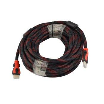 Кабел, от HDMI(м) към HDMI(м), 10m, черен/червен, оплетка image