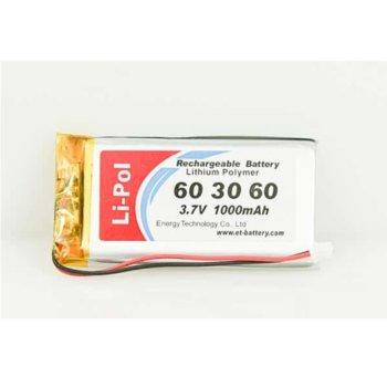 Литиева батерия LP603060, 3.7V, 1000mAh, Li-polymer, 1бр. image
