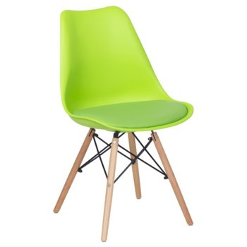 Трапезен стол Carmen 9960, крака от бук и метални подсилващи елементи, зелен image