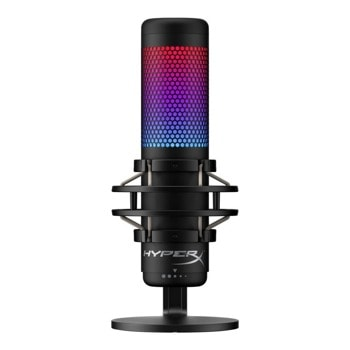 Микрофон Kingston HyperX QuadCast S (HMIQ1S-XX-RG/G), 3m кабел, AUX, USB, RGB подсветка, с поставка, черен image