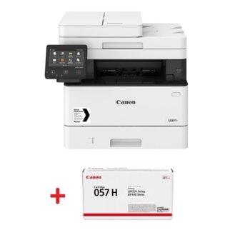 Мултифункционално лазерно устройство Canon i-SENSYS MF446x в комплект с тонер касета Canon CRG-057H, монохромен принтер/копир/скенер, 600 x 600 dpi, 38 стр./мин., USB, LAN, Wi-Fi, A4 image