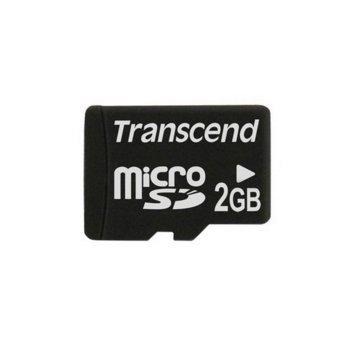 Карта памет 2GB microSD, Transcend, Class 4, скорост на четене 14MB/s, скорост на запис 5MB/s image