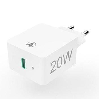Зарядно устройство Hama 220V Power Delivery 210535, от контакт към USB Type C(ж), 20W, бял, QuickCharge 3.0 image