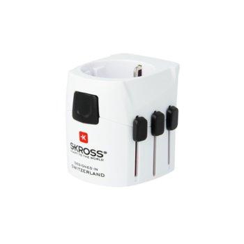 Адаптер Skross PRO Light 1103150, 1 гнездо, от EU към Сащ/Великобритания/Австралия/Китай, бял image