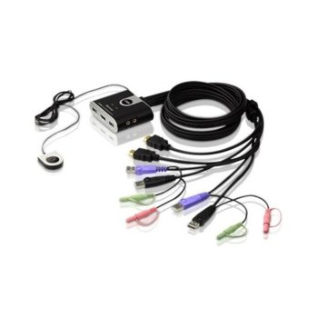 KVM суич ATEN CS692, от 1xHDMI, 2xUSB Type A, 1x3.5mm Audio Jack, 1x3.5mm Audio Jack към 2xHDMI, 2xUSB Type A, 2xUSB Type A, 2x3.5mm Audio Jack image