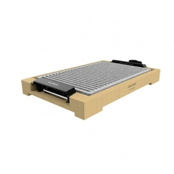 Електрическа скара Cecotec TastyGrill 2000 Bamboo LineStone, незалепваща плоча с 2 повърхности, регулируем термостат с 5 различни нива на мощност, бамбукова структура, 2000W image