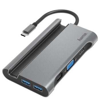 Докинг станция HAMA (200102), 1x HDMI, 1x VGA, 1x LAN, 3x USB 3.1, сива image