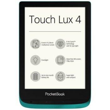 "Електронна книга PocketBook PB627 Touch Lux 4, 6""(15.24cm), Wi-Fi, Micro USB, 8GB Flash памет, емералд image"
