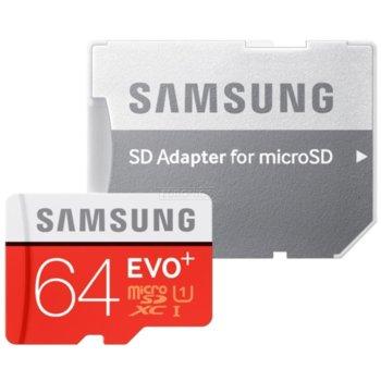 Карта памет 64GB microSDHC, Samsung EVO Plus + Adapter (MB-MC64GA/EU), Class 10 UHS-I, скорост на четене 100MB/s, скорост на запис 60MB/s image