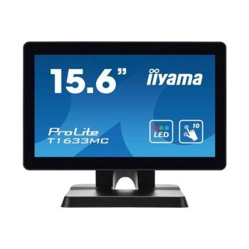 "Дисплей Iiyama T1633MC-B1, тъч дисплей, 15.6"" (39.62 cm), HD, HDMI, DisplayPort, VGA, USB image"