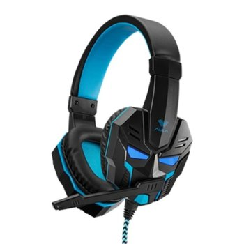 Слушалки AULA Prime, микрофон, гейминг, 40мм мембрани, LED подсветка, 3.5мм жак, USB, черни image