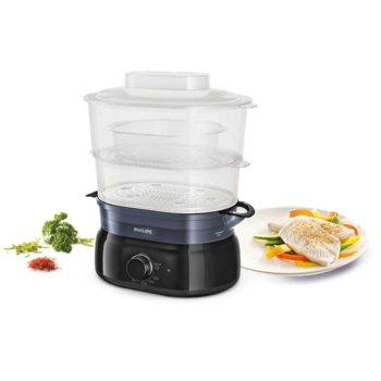 Уред за готвене на пара Philips Daily Collection, 900 W, 5 литра, съд за ориз/супа, инфузер за подправки и аромати, контейнер за яйца, черен image
