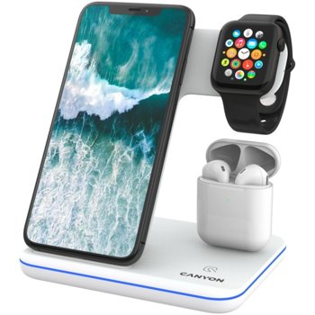 Докинг станция Canyon WS-303 3in1, от контакт към безжично зареждане на iPhone, Apple Watch и Apple AirPods, бяла image