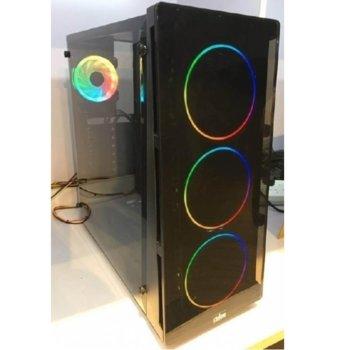 Кутия Power Box X906, ATX/Micro ATX/Mini-ITX, 1x USB 3.0, прозорец, черна, RGB подсветка, без захранване image