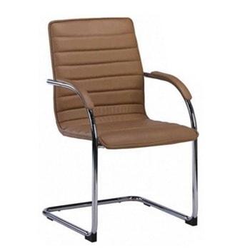 Посетителски стол RFG Sky M, до 120кг, еко кожа, метална база, кафяв image