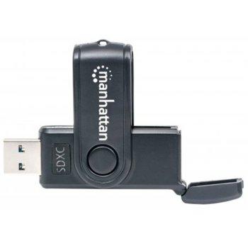 Четец за карти Manhattan 101981, USB 3.0 A(м) към MicroSD/SD/MMC, черен image