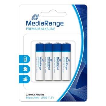 Батерии алкални MediaRange Premium MRBAT101 LR3, ААА, 1.5V, 724mAh, 4бр. image