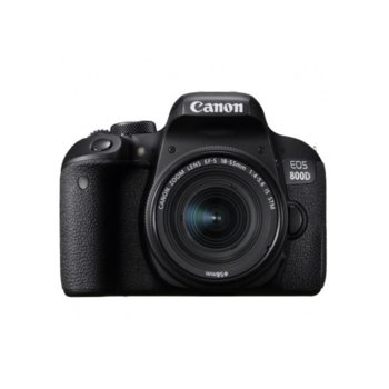 "Фотоапарат Canon EOS 800D в комплект с обектив Canon EF-S 18-55mm IS STM и подарък карта памет Lexar 32GB SDHC, 24.2 Mpix, 3.0"" (7.62 cm)TFT сензорен дисплей, Wi-Fi, HDMI mini, USB, SDXC/SDHC/SD слот image"