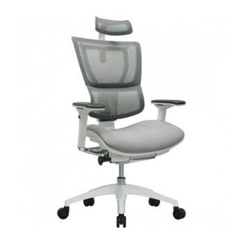 Директорски стол U-BODY, мрежеста дамаска, подлакътници, опора за глава, алуминиева основа, сив image