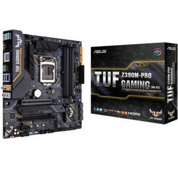 Дънна платка ASUS TUF Z390M-PRO GAMING WI-FI, Z390, LGA1151, DDR4, PCI-E (HDMI)(SLI&CFX), 6x SATA 6Gb/s, 1x M.2 Socket, 1x USB 3.1 (Gen 2), micro-ATX image