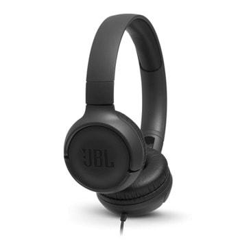 Слушалки JBL Tune 500BT, безжични, микрофон, до 16 часа работа, черни image