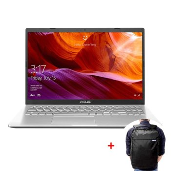 "Лаптоп Asus X509JA-WB311PRO (сребрист) с подарък раница за лаптоп Asus V09A0017, двуядрен Ice Lake Intel Core i3-1005G1 1.2/3.4 GHz, 15.6"" (39.62 cm) Full HD Anti-Glare Display, (HDMI), 12GB DDR4, 256GB SSD, 1x USB 3.1 Type-C, No OS image"