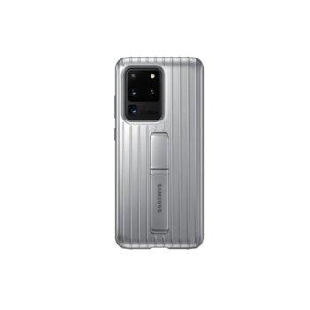 Калъф за Samsung Galaxy S20 Ultra, хибриден, Samsung Protective Standing Cover EF-RG988CB, удароустойчив, с поставка, сребрист image