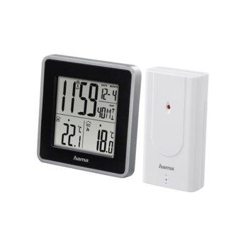 Електронна метеостанция Hama EWS Intro, термометър, аларма, черна image