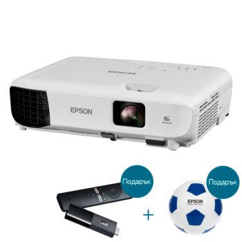 Проектор Epson EB-E10 с подарък медиа плейър Xiaomi Mi TV Stick и футболна топка Epson, 3LCD, 1024 x 768 (XGA), 15 000:1, 3600 lm, HDMI, VGA, USB image