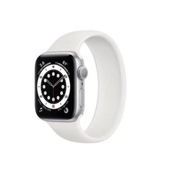 "Смарт часовник Apple Watch Series 6, 44mm, 1.78"" (4.52 cm) Retina OLED дисплей, Bluetooth, 50m water resistant, до 18 часа време на работа, White Sport Band - Regular, сребрист image"