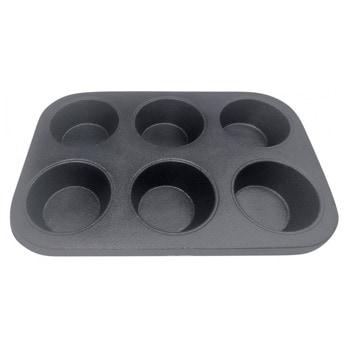Форма за мъфини и кексчета Kinghoff KH 1199, чугун, 26х18х3 см, 6 гнезда, черен image
