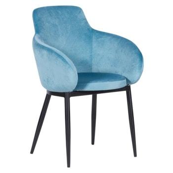 Трапезен стол Carmen TARA, до 100кг. макс. тегло, дамаска, метална база, син image