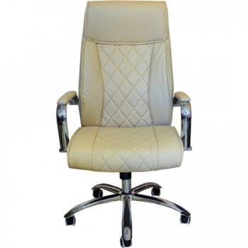 Директорски стол MAKAO HB БЕЖОВ, тапициран с еластична еко кожа, газов амортисьор, люлеещ механизъм, бял image