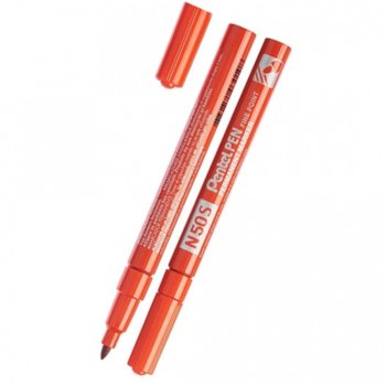 Перманентен маркер Pentel N50S червен, 1.0 mm, с метално тяло image